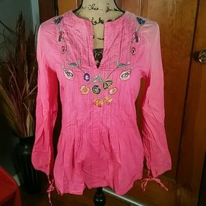 Como No? Mexican Floral Pastel Love Blouse NWOT